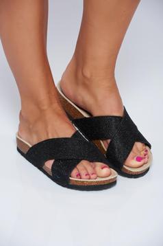 Papuci Top Secret negri casual cu talpa joasa