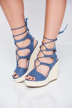 Sandale casual albastre cu snur