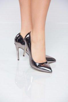 Pantofi stiletto argintiu elegant cu aspect metalic din piele ecologica