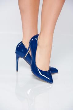 Pantofi stiletto albastri eleganti cu aspect metalic din piele ecologica