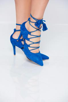 Pantofi stiletto albastri eleganti accesorizati cu snur cu toc inalt