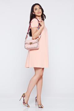 Geanta dama casual rosa cu tinte metalice