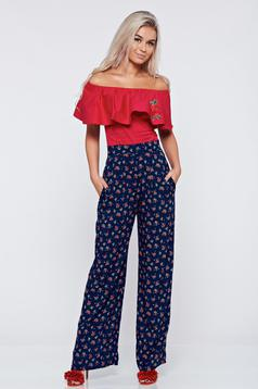 Pantaloni cu talie inalta cu buzunare StarShinerS albastri cu imprimeuri florale