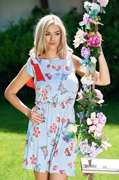 Rochie de zi StarShinerS albastra-deschis cu imprimeuri florale