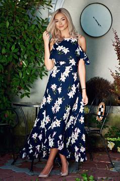 Rochie lunga din material vaporos StarShinerS albastru-inchis cu umeri decupati