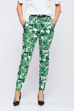 Pantaloni Top Secret verzi conici cu imprimeu floral