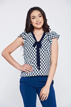 Bluza dama din voal Fofy albastru-inchis cu imprimeuri grafice