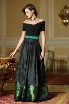 Rochie eleganta in clos Artista verde din material satinat