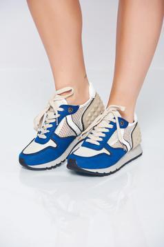 Pantofi sport cu talpa usoara albastru cu siret