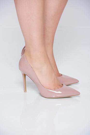 Pantofi stiletto crem eleganti cu toc inalt din piele ecologica cu varful usor ascutit