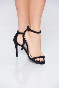 Sandale cu toc inalt negre cu barete subtiri