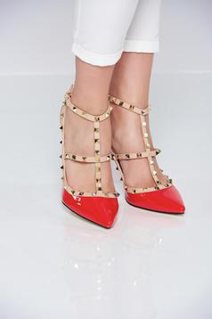 Pantofi cu toc inalt rosu cu tinte metalice