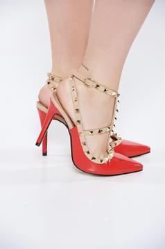 Pantofi stiletto rosii cu toc inalt din piele ecologica lacuita cu tinte metalice
