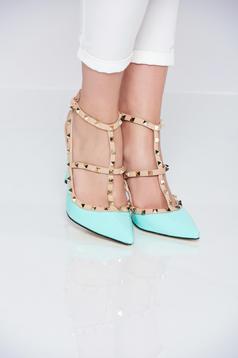 Pantofi cu toc inalt mint cu tinte metalice