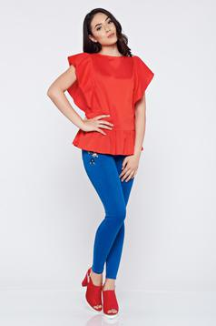 Bluza dama casual din bumbac LaDonna rosie cu volanase la maneca