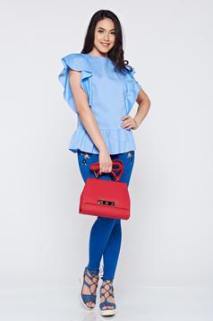 Bluza dama casual din bumbac LaDonna albastra-deschis cu volanase la maneca