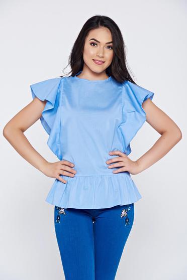 Bluza dama LaDonna albastra-deschis casual din bumbac cu volanase la maneca