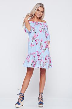 Rochie LaDonna albastra-deschis din bumbac cu croi larg cu imprimeuri florale