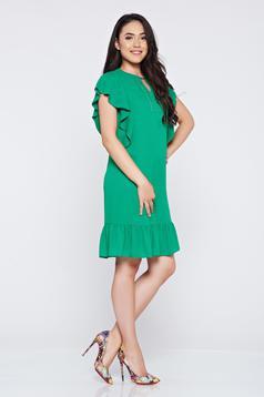 Rochie LaDonna verde din voal cu croi larg cu aplicatii cu margele