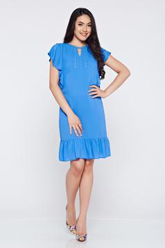 Rochie din voal cu croi larg LaDonna albastra-deschis cu aplicatii cu margele