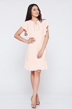 Rochie din voal cu croi larg LaDonna rosa cu aplicatii cu margele
