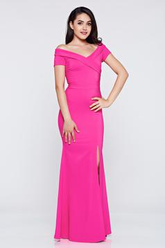 Rochie de ocazie lunga LaDonna roz cu decolteu in v