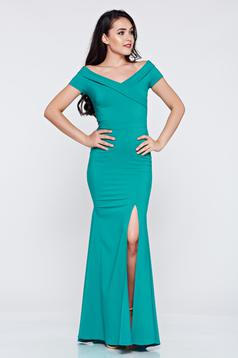 Rochie de ocazie lunga LaDonna verde cu decolteu in v