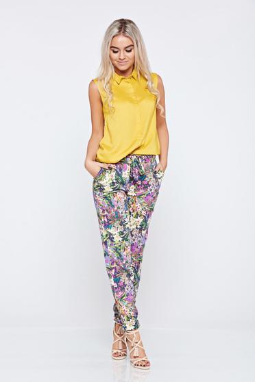 poze cu Pantaloni casual conici Top Secret rosa cu imprimeu floral