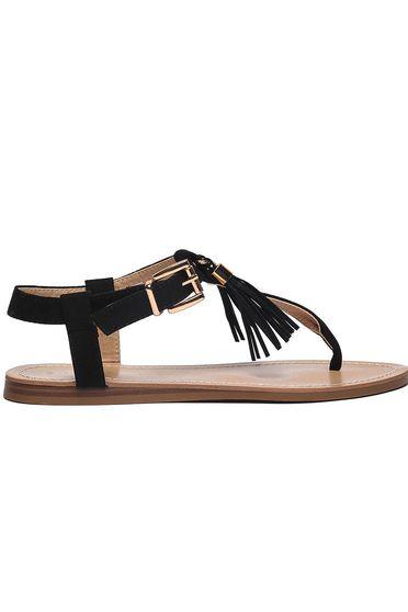 Sandale Top Secret negre casual cu ciucuri