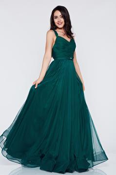 Rochie de seara cu bretele Ana Radu verde-inchis accesorizata cu pietre stras
