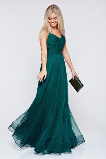 Rochie Ana Radu verde-inchis de seara cu bretele accesorizata cu cordon