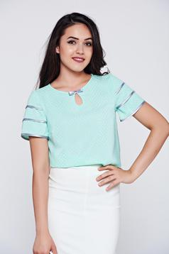 Bluza dama eleganta Fofy mint cu maneca scurta