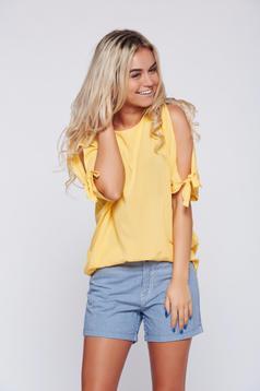 Bluza dama Top Secret galbena cu croi larg cu maneci decupate