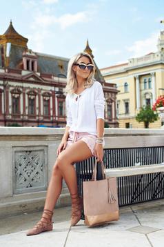 Geanta dama cu franjuri Top Secret rosa cu manere de lungime medie