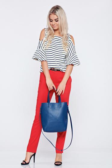 Pantaloni conici cu talie medie Top Secret rosii cu buzunare