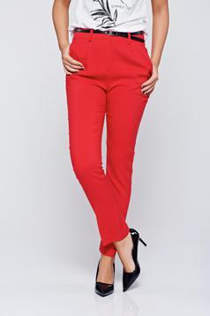 Pantaloni Top Secret rosii conici cu talie medie cu buzunare