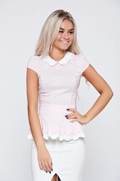 Camasa dama din bumbac Fofy rosa cu maneca scurta