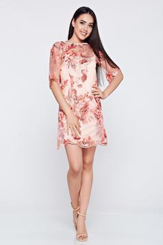 Rochie de ocazie brodata LaDonna rosa din material dantelat
