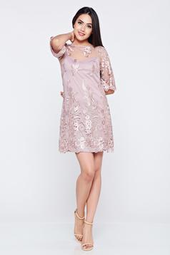 Rochie de ocazie brodata LaDonna lila din material dantelat