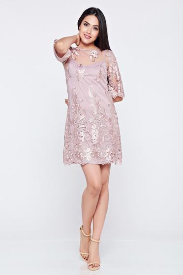 Rochie LaDonna lila de ocazie brodata din material dantelat