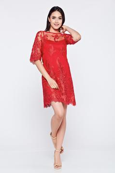 Rochie de ocazie brodata LaDonna rosie din material dantelat