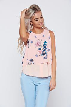 Bluza dama din voal piersica cu imprimeuri florale