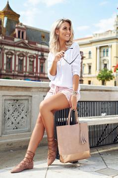 Pantalon scurt casual din bumbac rosa accesorizat cu cordon