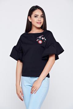 Bluza dama brodata cu croi larg StarShinerS neagra cu maneci tip fluture