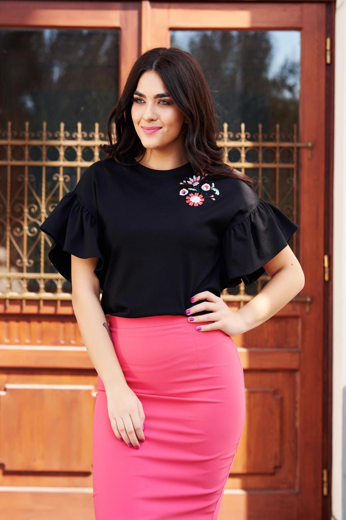 Bluza dama StarShinerS neagra eleganta brodata cu croi larg cu maneci tip fluture