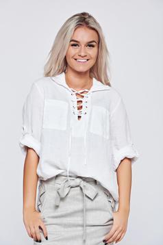 Bluza dama casual din in alba cu croi larg