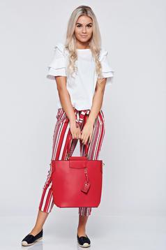 Pantaloni conici cu dungi verticale rosii cu buzunare
