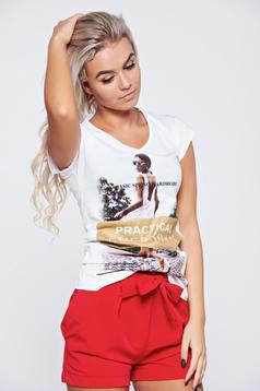 Tricou din bumbac cu print alb cu maneca scurta