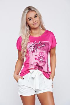 Tricou casual din bumbac roz cu print