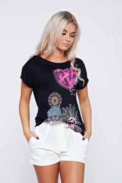 Tricou din bumbac cu maneca scurta negru cu imprimeuri florale
